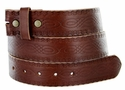 Model BS85 Dark Brown Vintage Tooled Leather Belt Strap