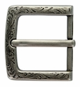 "P3983 Western Floral Engraved Antique Silver Belt Buckle  fit's 1-1/2"" (38mm) wide Belt"