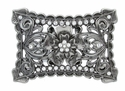 Rectangular Cut-Out Floral Rhinestone Belt Buckle C1008