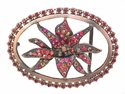 Red Flower Rhinestone belt buckle