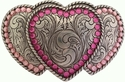 Three Hearts Belt Buckle with Pink Swarovski Rhinestone Crystals