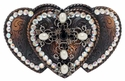 Three Hearts Cross Belt Buckle with Swarovski Rhinestones