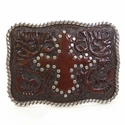 Tooled Brown Leather w/Studded Cross Western Belt Buckle