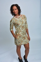 Bird Print Shift Dress