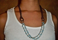 Blue Pearls with Brown Ribbon