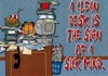 A Clean Desk is the Sign of a Sick Mind - Garfield (Fun Office Sign) - Velcro & Magnetic!