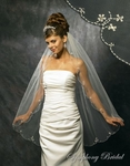 1-Tier Fingertip Beaded floral Edge Veil - SALE