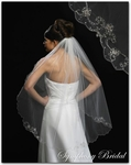 1-Tier Scalloped Lace with Embroidered Swirl Edge Veil