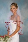 2-Tier Garnet Red Ribbon Edge Bridal Veil