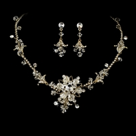 Addison-HEIRLOOM DESIGN Gold Crystal Bridal Necklace Set