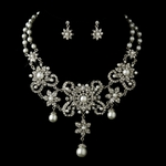 Adeline -Antique Silver Statement pearl Necklace & Earrings Bridal Jewelry Set  - SALE