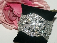 Allegra - NEW! STUNNING Swarovski crystal wide wedding bracelet