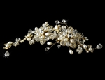 Alora - AMAZING VINTAGE gold pearl and crystal Bridal Comb