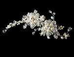 Alora - HEIRLOOM DESIGN Crystal off white freshwater pearls Bridal Comb