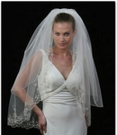Amazing!!! Heavily Beaded 2-tier Bridal Veil - SALE!!!