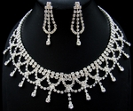 Amazing Rhinestone Drops Collar Wedding Prom Necklace Set
