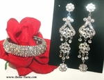 Amber set - Beautiful wedding prom chandelier statement earrings and bracelet set - SPECIAL