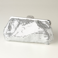 Amelia - Silver Sequin & Rhinestone Evening Bag  - SALE