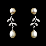Ana - romantic classic silver ivory pearl bridal earrings - SALE