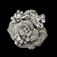 Anastasia - Beautiful antique silver rose bridal rhinestone brooch - SALE!!
