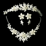 Angelica - Dreamy white floral bridal tiara and necklace set -- SALE!!