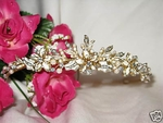 Angelica - Gold Ivory Floral Beauty Bridal Tiara