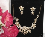Angelica - Gold Ivory Wedding Necklace Set