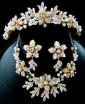 Angelica - Gorgeous Silver Champagne Tiara and Necklace Set