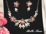 Angelica- - Red Floral Bridal Necklace Set