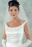 Ansonia beauty two tier Swarovski rhinestone edge wedding veil - SALE!!