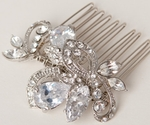 Antique Silver bold CZ and Rhinestone Hair Comb - SALE!!