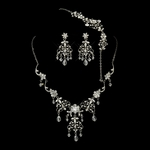 Antique Silver Diamond White Pearl & Swarovski Crystal Necklace, Earrings & Bracelet Jewelry Set