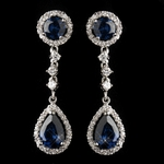 Antique Silver Rhodium Sapphire CZ Crystal Drop Earrings - SALE