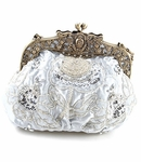Antique silver white fabric beaded wedding purse - SPECIAL