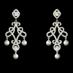 Antonia -  Victorian Vintage CZ Pearl Chandelier Earrings - SALE!!