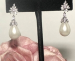 Arella - Classic romantic freshwater pearl CZ wedding earrings - SALE