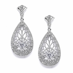 Art Deco Etched Cubic Zirconia Earrings