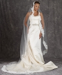 ASTONISHING -- Designer Edward Berger Mantilla lace edge cathedral veil - Amazingly Priced!!!