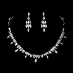Atara - Dazzling Cubic Zirconia maquise drop necklace set - SALE