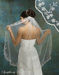 Beautiful 1-Tier Figertip Beaded Bridal Veil