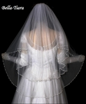 Royal Collection - Beautiful 2 Layer Fingertip crystal pearl wedding Veil