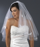 Beautiful 2-tier lace cut edge bridal veil