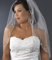 Beautiful beaded scalloped elbow lenght ivory veil - SALE!!