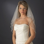 Beautiful cascading two tier beaded edge wedding veil - SPECIAL