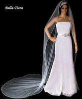 Dazzle Collection - silver Beaded Edge cathedral wedding Veil - SPECIAL