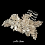 NEW!! Beautiful Champagne Rum Hair Comb with Rhinestones and Pearls