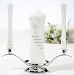 Beautiful Christian Unity Candle and Two Tapers