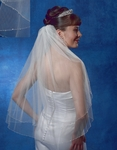 Beautiful Crystal beaded two tier wedding veil - SALE