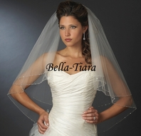 Beautiful beaded edge two tier fingertip veil - SPECIAL