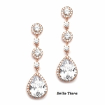 Beautiful CZ rose gold drop earrings - SALE